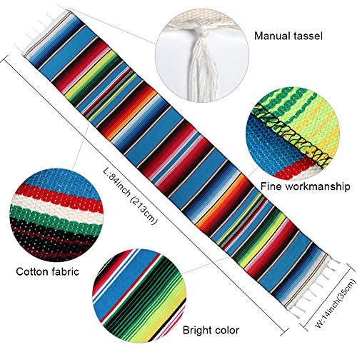 Hokic 14 x 84 inch Mexican Serape Table Runner for Mexican Party Decorations, Mexican Blanket Cotton Table Runners