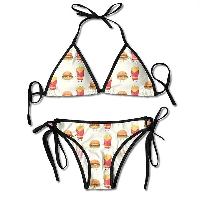 010d50106 MOJP9 Women's Adjustable Bikini Tops, Cute Hamburgers French Fries Bikini  Set Swimsuits Bathing Suit Black
