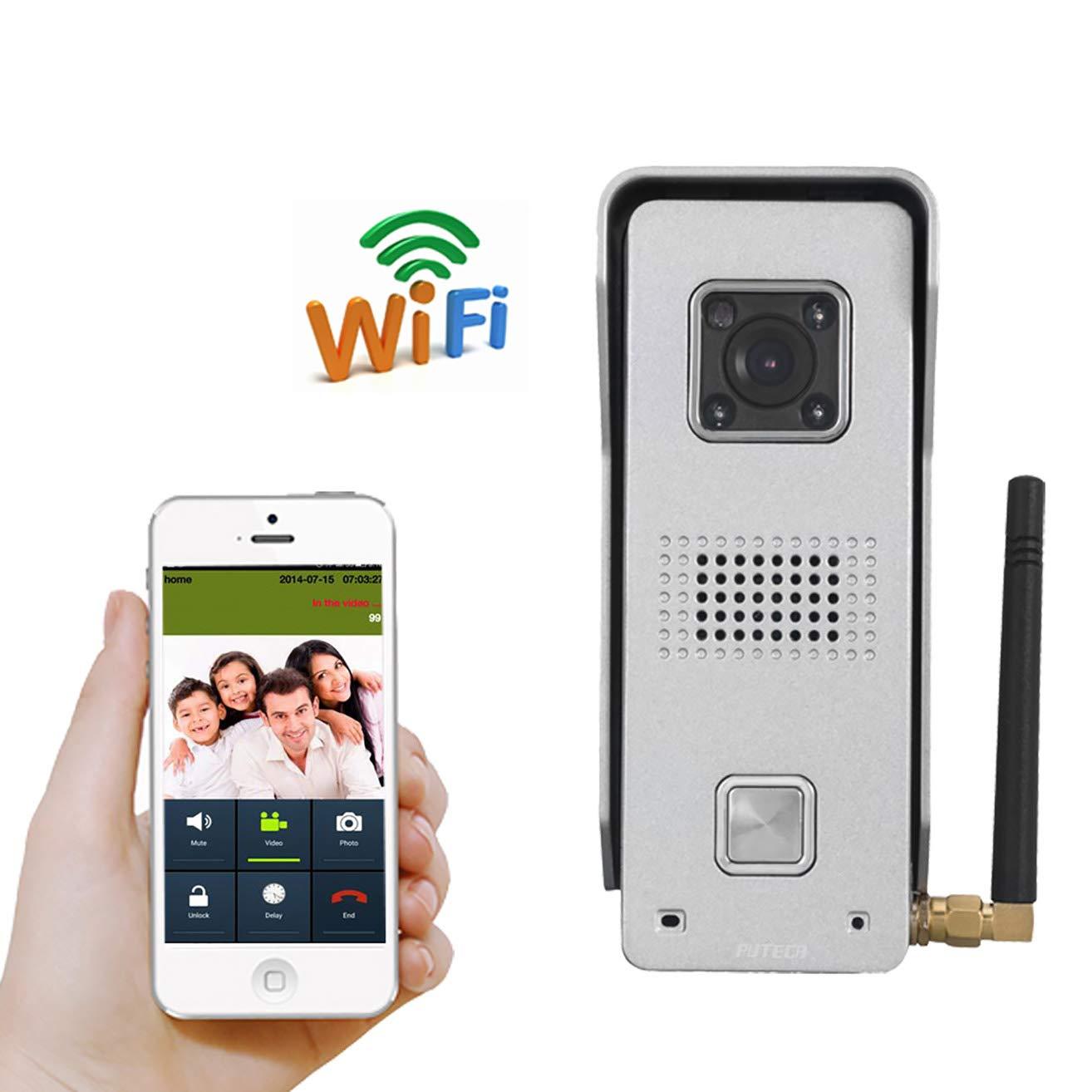 LHKAVE Wireless Video-Türsprechanlage Sprechanlage Türklingel Kamera Fernbedienung IR Nachtsicht Alarm Android IOS Smart Home