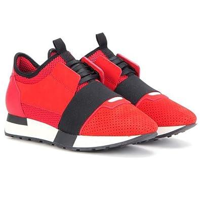 regarder 84335 3a292 Balenciaga mixte Race chemin de tissu, cuir et daim Sneakers ...