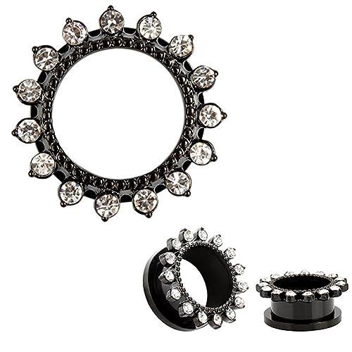 HuaCan Flesh Tunnel Plug Set 10mm Ohr Piercing Stecker Schwarz Silber  Kristall Blütenblätter Double Flared Klassisch 584924a62d