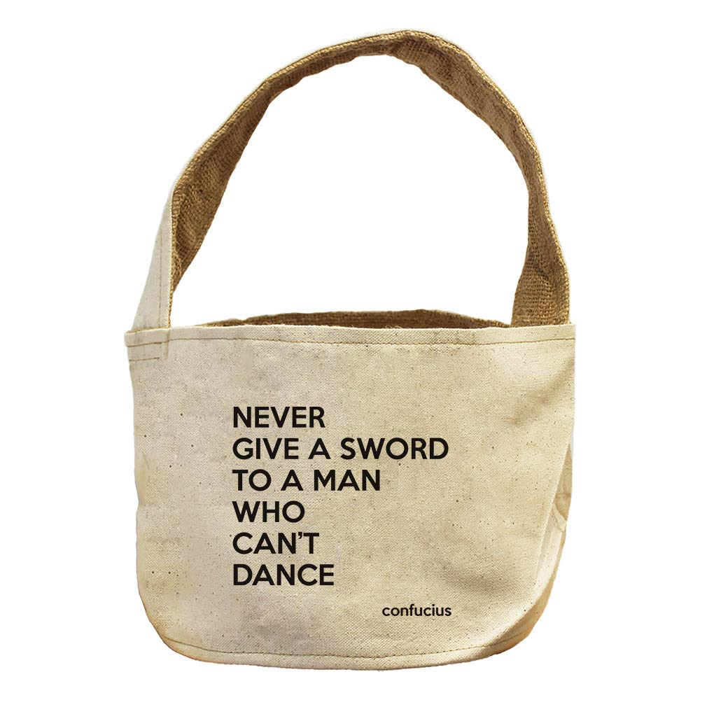 Style in Print Never Give A Man Who Can'T Dance (Confucius) Canvas and Burlap Storage Basket