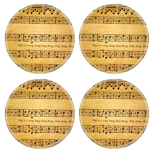 Custom Coaster Set of 4 ,MSD Unique Printed Coaster Cup Mat Design for music old melody sheet paper musical vintage antique note art aged key texture classical Round Antique Sheet Music