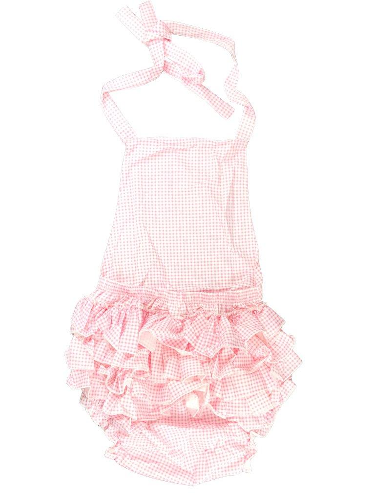 Haian ABDL Print Cotton Ruffle Rhumba Romper (Large, Pink Gingham Print Cotton)