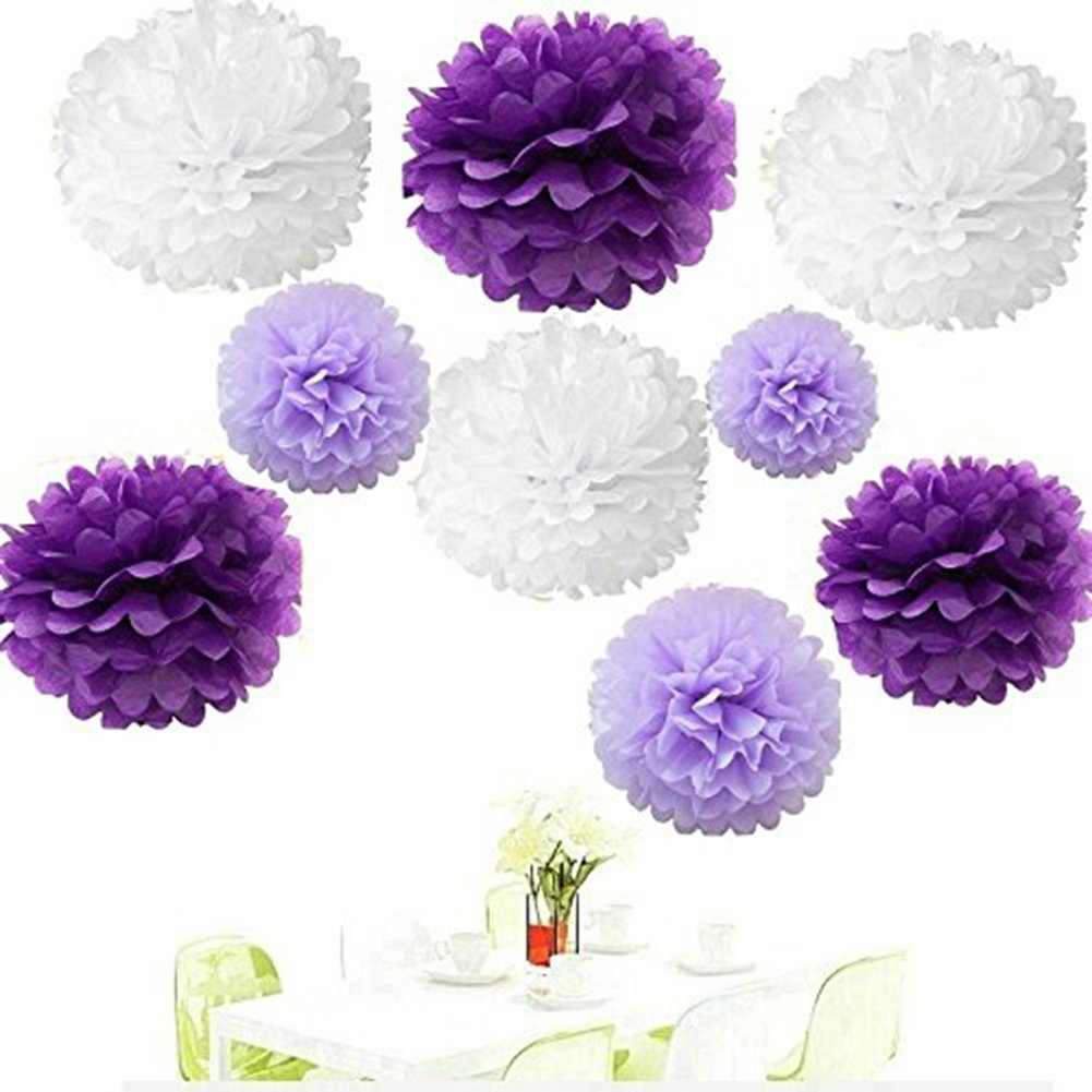 Tissue Paper Pom Poms 18 Pieces Tissue Paper Flower Decorations for Baby Shower Birthday Wedding Party Hanging Pom Poms,8' 10'' 12''