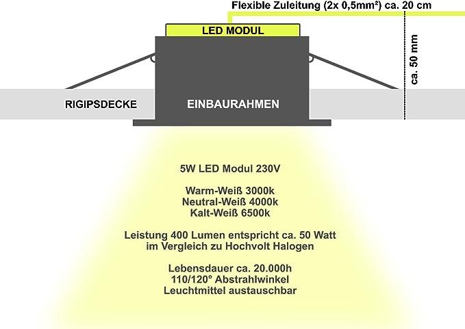 AQUA BASE IP65 5er Set 230V LED 5W dimmbar flach Decken Bad Einbaustrahler eckig Chrom gl/änzend Modul Kalt-Wei/ß 6500k nur 50 mm Einbautiefe Bad Feuchtraum Einbauleuchte quadratisch