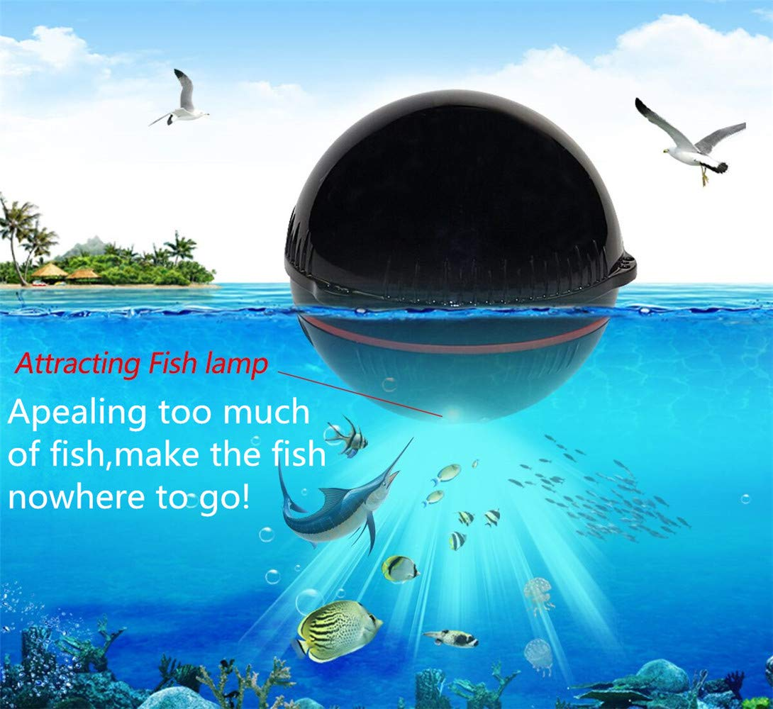 Erchang Portable Fish Finder,Kayak Fishing Fishfinder Boat Fishing Depth Finder Ice Fishing Gear with Wireless Smart Sonar Sensor with Android iOS System for Saltwater Freshwater