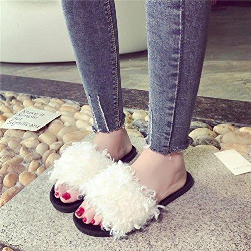 Faux Mules Blanc Sandales De Moelleux antidérapant Plat Plates Chausson Fourrure Sandales Chaussures GongzhuMM ❉Femmes Pantoufles Doux Plage Plat Femmes Slipper Plates Chaussures Tongs xrBqUrAnwC