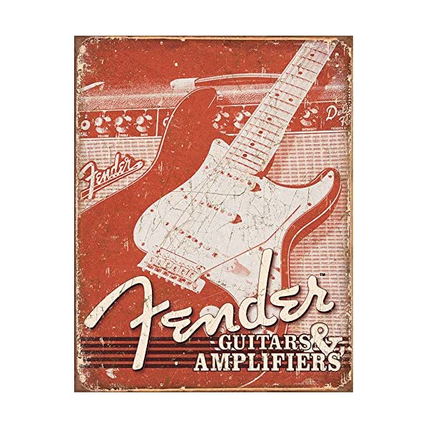 Fender Guitars and Amps. weathered (pt) metal sign (de)