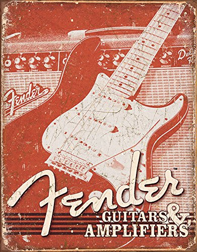 Fender Weathered Tin Sign (Weathered Metal Sign)
