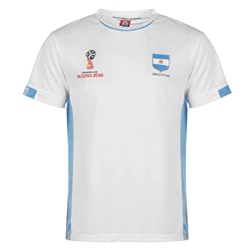 436fc3b9657 FIFA World Cup 2018 Argentina T-Shirt Mens White Football Soccer Top Tee  Small  Amazon.co.uk  Sports   Outdoors
