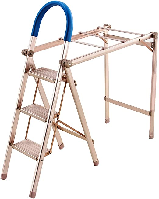 Escalera Plegable de 3 peldaños Taburete de Aluminio Ligero Escalera portátil Cocina doméstica Escalera de Tijera Multifuncional Marco de Metal Agarre de Goma Pedal Antideslizante Capacidad de 330 l: Amazon.es: Hogar