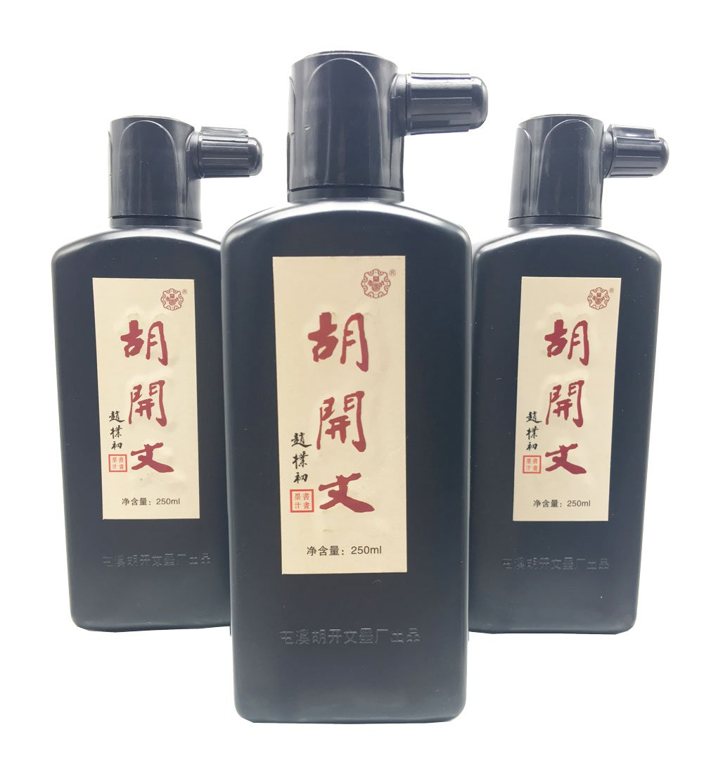 Easyou Hukaiwen Liquid Sumi Ink Chinese Black Calligraphy Ink for Chinese Japanese Traditional Calligraphy and Painting 3pcs/pack