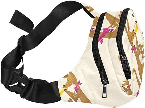 The Brown Carton Kangaroo Is Running Fenny Packs Waist Bags Adjustable Belt Waterproof Nylon Travel Running Sport Vacation Party For Men Women Boys Girls Kids