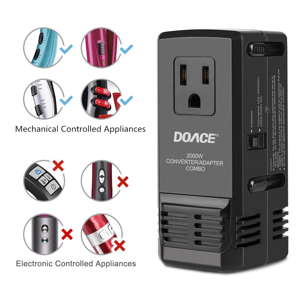 DOACE C8 2000W Travel Voltage Converter 220V to 110V for Hair Dryer Steam Iron, 8A Universal Power Adapter with All in One UK/AU/US/EU Worldwide Plug Wall Charger for Laptop MacBook Camera Cell Phone by DOACE (Image #3)