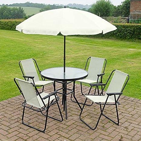 homezone Garden Mile 6 piezas Patio Jardín Aire Libre Juego JARDÍN MESA de Comedor 4x plegable sillas y parasol. Crema Muebles de Jardín Juego Exterior Comedor Mueble 4 Asientos: Amazon.es: Jardín