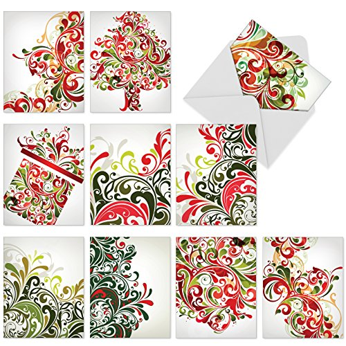 (Boxed Set of 10 'Seasonal Swirls' Christmas Greeting Cards - Red and Green Swirls Christmas Cards 4 x 5.12 inch, Loops and Swirls in Traditional Xmas Stationery Cards with Envelopes M6053)