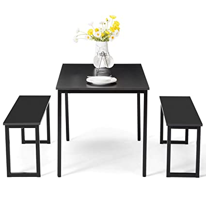 Super Amazon Com Lapha 3 Pcs Back Dining Table Set 2 Bench Onthecornerstone Fun Painted Chair Ideas Images Onthecornerstoneorg