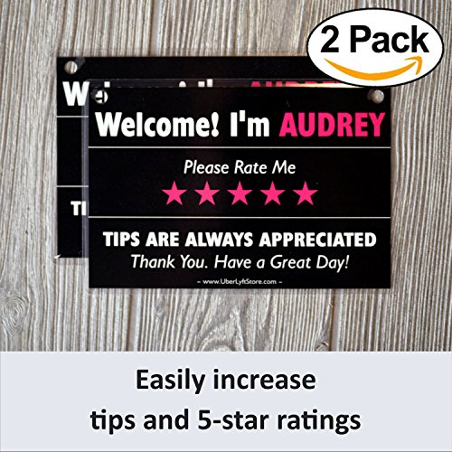 Personalized LYFT Tips & Ratings Sign, Removable Headrest Display Card Placard Decals (Custom Name Printed), Increase Tips & 5 Star Ratings --- Best Accessory for Rideshare Drivers (2 Pack) Custom Tip