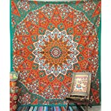 Handicrunch Queen Indian Star Mandala Psychedelic Tapestry, Hippie Bohemian Wall Hanging Tapestries, Bedspread Bedding Bed Cover, Ethnic Home Decor