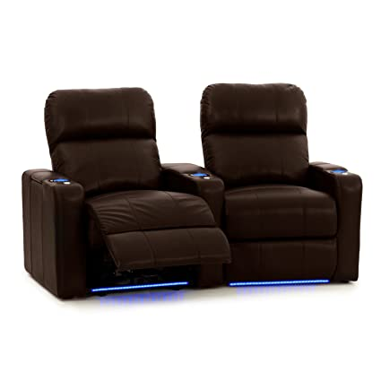 Turbo XL700 Home Theater Seating - Octane Brand - Brown Leather - Power Recline - Storage