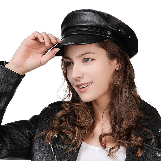 7f0bff7806a6b Womens Newsboy Cap Baker Berets Fisherman Conductor Greek Hat Sailor  Fiddler Winter PU Leather Casual Fashion