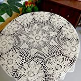 TideTex Country Style Crochet Lace Tablecloth Handmade Weave Hook Flowers Doilies Table Cover Round Coffee Table Dining Table Table Covering Table Cloth Rustic (82''6x82''6, Beige)