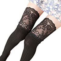 Sumen Women Girl Stockings Thigh High Opaque Soft Lace Long Socks Leggings