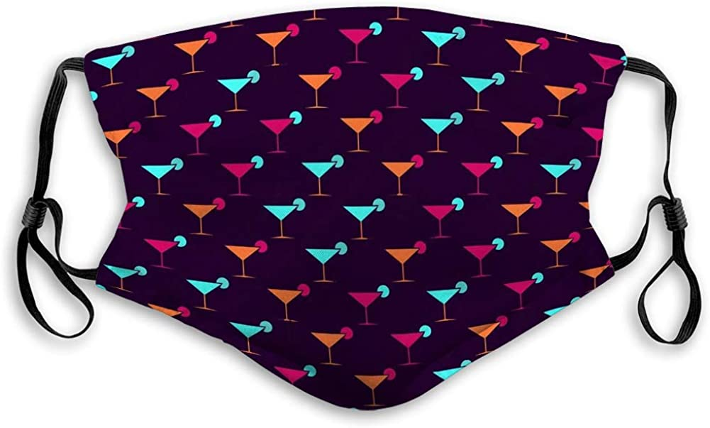 Covers Face and Nose Cover Soft Mouth Shield Martini Glasses Seamless Pattern Multi Colored Sports Shield