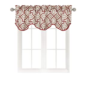 Home Queen Rod Pocket Room Darkening Print Curtain Valance Window Treatment for Living Room, Short Straight Drape Valance, Set of 1, 54 X 18 Inch, Red