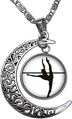 GiftJewelryShop Gold-Plated Dance Themes Tango Dancer White Crystal Charm Pendant Necklace