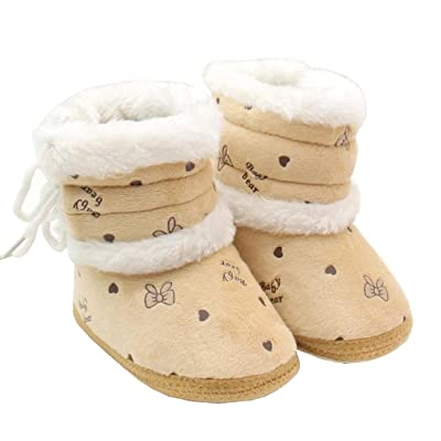 602673d818b Morrivoe Baby Girls Heart Print Soft Sole Warm Winter Snow Boots Toddler  Outdoor Anti-slip Boots