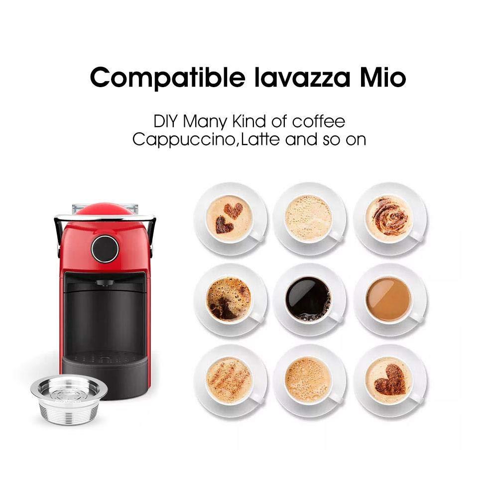 Womdee C/ápsula de caf/é Reutilizable 1 Cepillo y 1 Tamper de caf/é Juego de filtros para c/ápsulas de caf/é para LAVAZZA A Modo Mio//Espria con 1 Cuchara de caf/é
