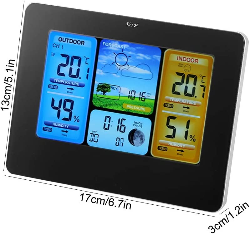 Zerodis Home Wireless Weather Forecast Station LCD Digital Wireless Weather Station Clock Thermometer with Color Display for Indoor Outdoor Temperature Humidity Yellow