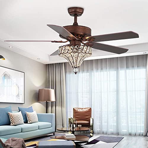 Tropicalfan 52-Inch Crystal Ceiling Fan