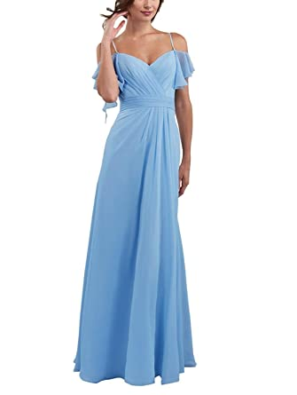 c1628e253d0b Bridal Womens Long Chiffon Prom Bridesmaid Dresses 2019 Evening Gowns with  Sleeves Size 2 Blue