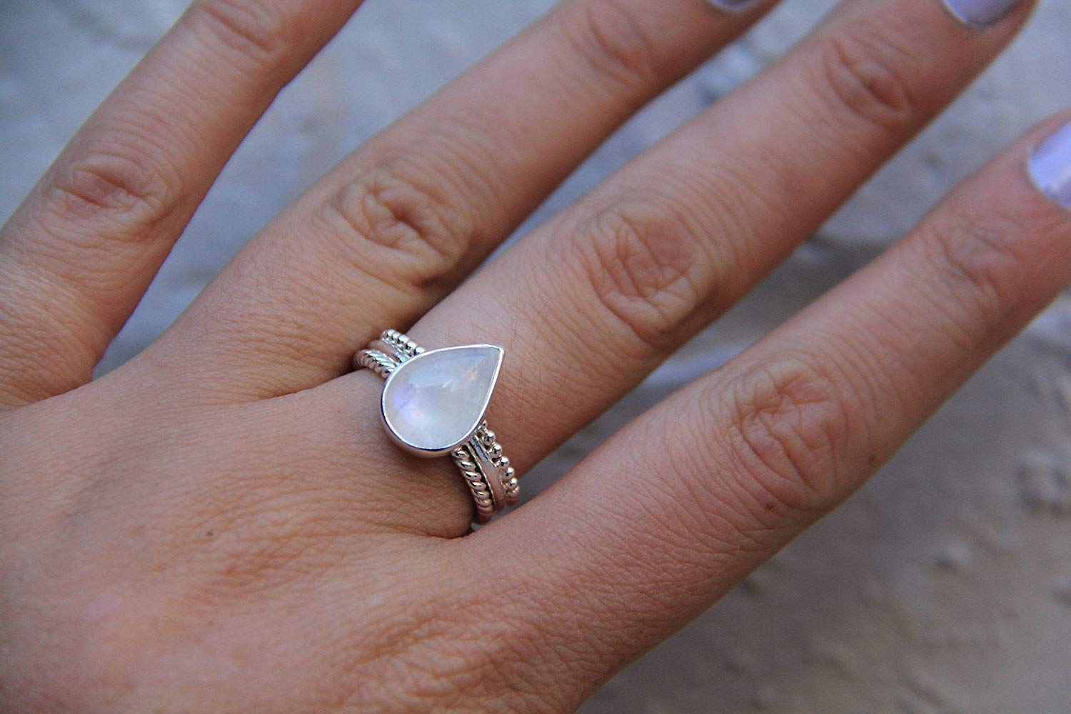 Designer Silver Band Ring, Rainbow Moonstone Womens Ring, Natural Healing Moonstone Ring, Solid 925 Sterling Silver Ring, Big Solitaire Bohemian Jewelry, Gift for Her, Teardrop Moonstone Ring All Size
