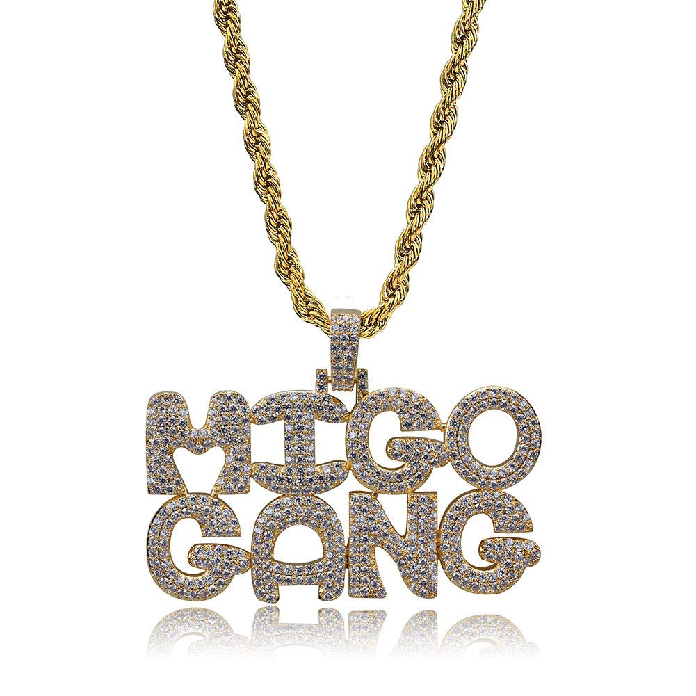 7a5c7b07f LC8 Jewelry Men Diamond Iced Out Bling Custom Bubble Letters MIGO-Gang  Initial CZ Pendant with 24 Inch Rope Chain Hip Hop Necklace (Silver)    Amazon.com