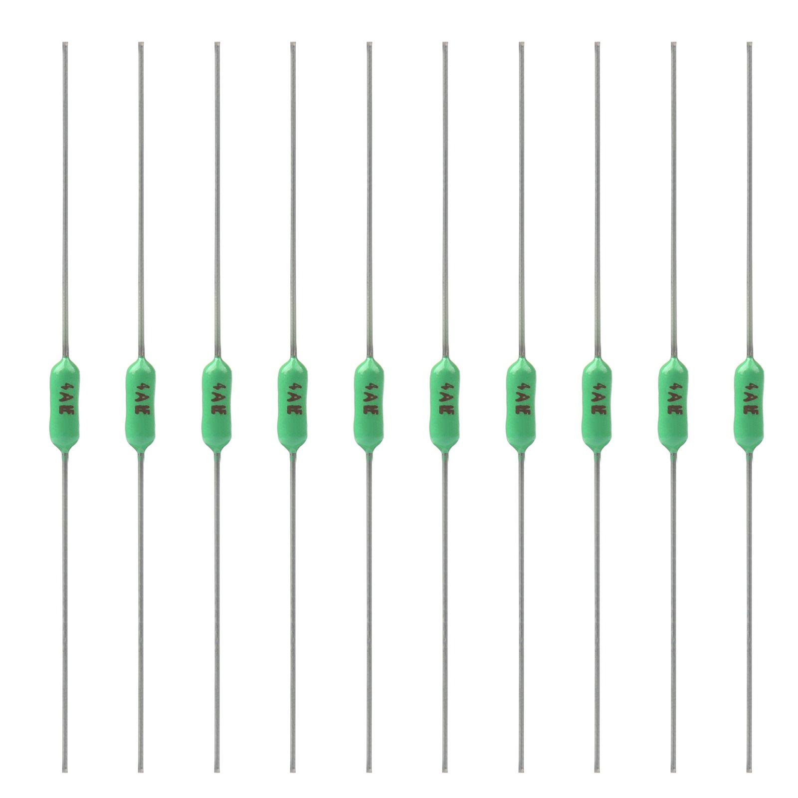 Areyourshop 10Pcs Green Ceramic Resistor Fuse Axial Lead Very Fast Acting Fuse 2.4x7mm 4A