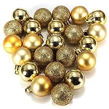 Ornament Ball - SODIAL(R)24Pcs Chic Christmas Baubles Tree Plain Glitter XMAS Ornament Ball Decoration Gold