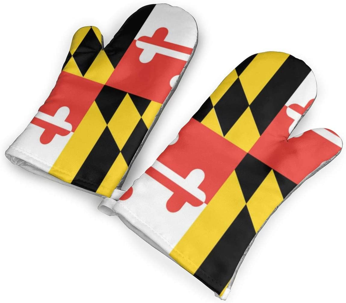 Feederm Maryland States Flag Oven Mitts,Professional Heat Resistant Microwave Oven Insulation Thickening Gloves Baking Pot Mittens Soft Inner Lining Kitchen Cooking