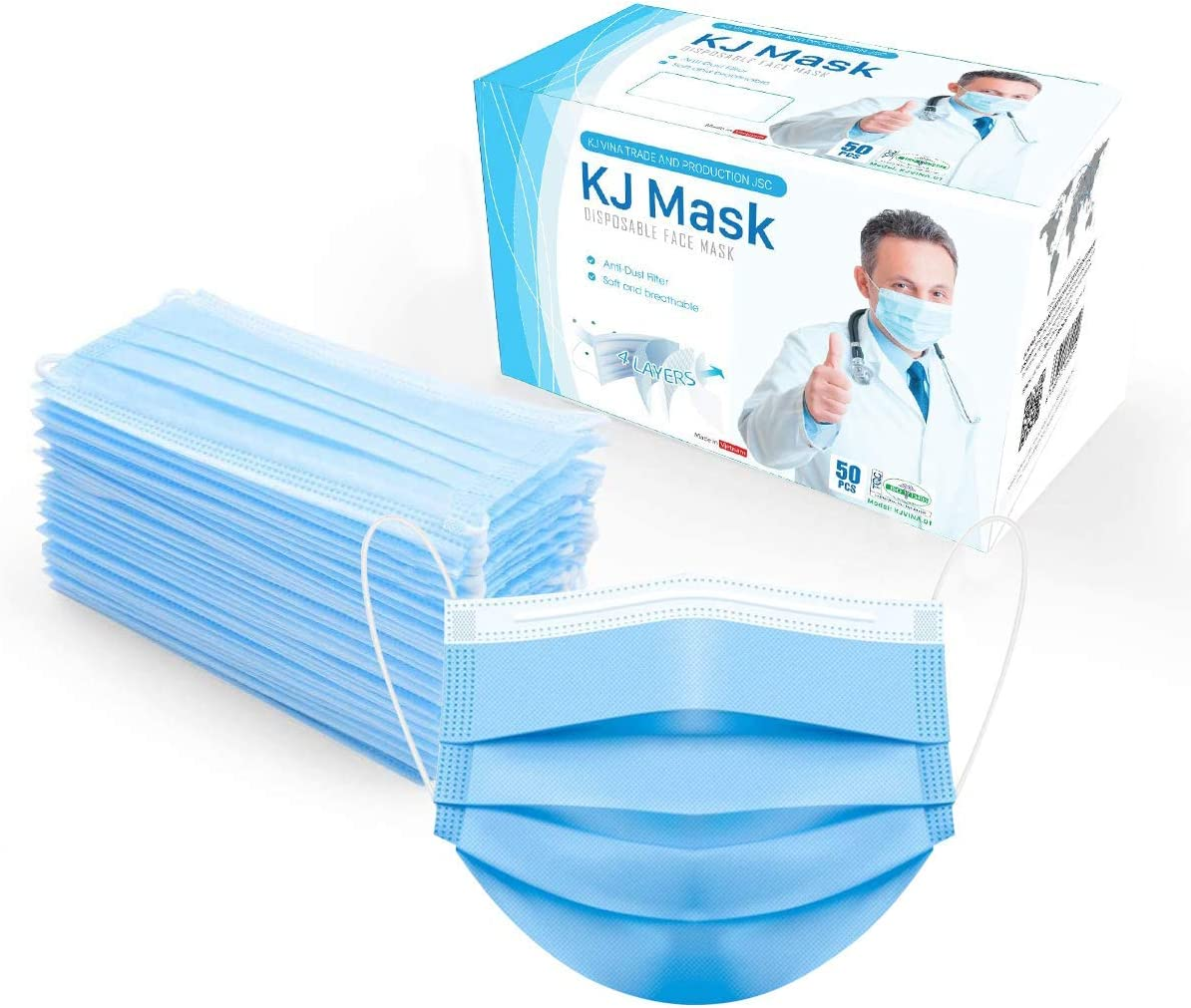 50 Pcs Disposable Face Mask 4 Layers- Safety Breathable Facemasks Blue with Elastic Ear Loop Comfortable for Blocking Dust Air Pollution Protection for Kids Teen Women Men