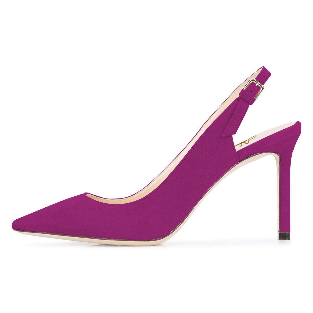 13a3117de63 ... NJPU Women Women Women Pointed Toe Slingback Pumps Stiletto High Heels  Office Shoes with Buckle B07C2V9BLQ ...