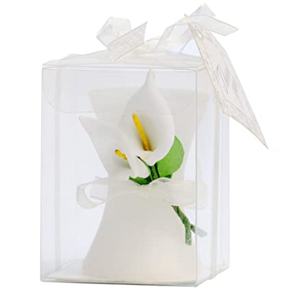 aixiang 24 pack wedding favors lily style candle favors gift boxed with thanks cards for bridal