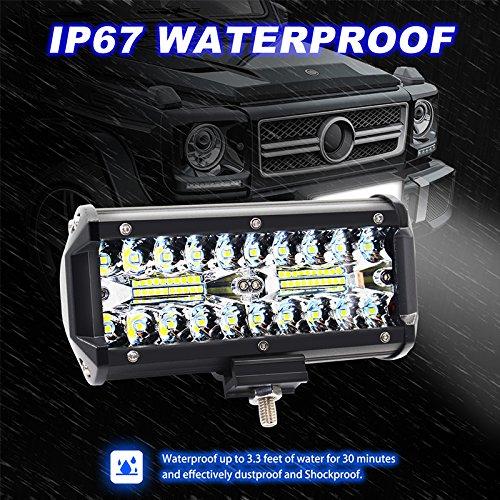 ETbotu 2 pcs 17, 8 cm 120 W 3 rangé es Lampes LED Lumiè re de Travail vé hicule de Voiture Disque Off-Road lumiè res de Toit Bande Lumineuse
