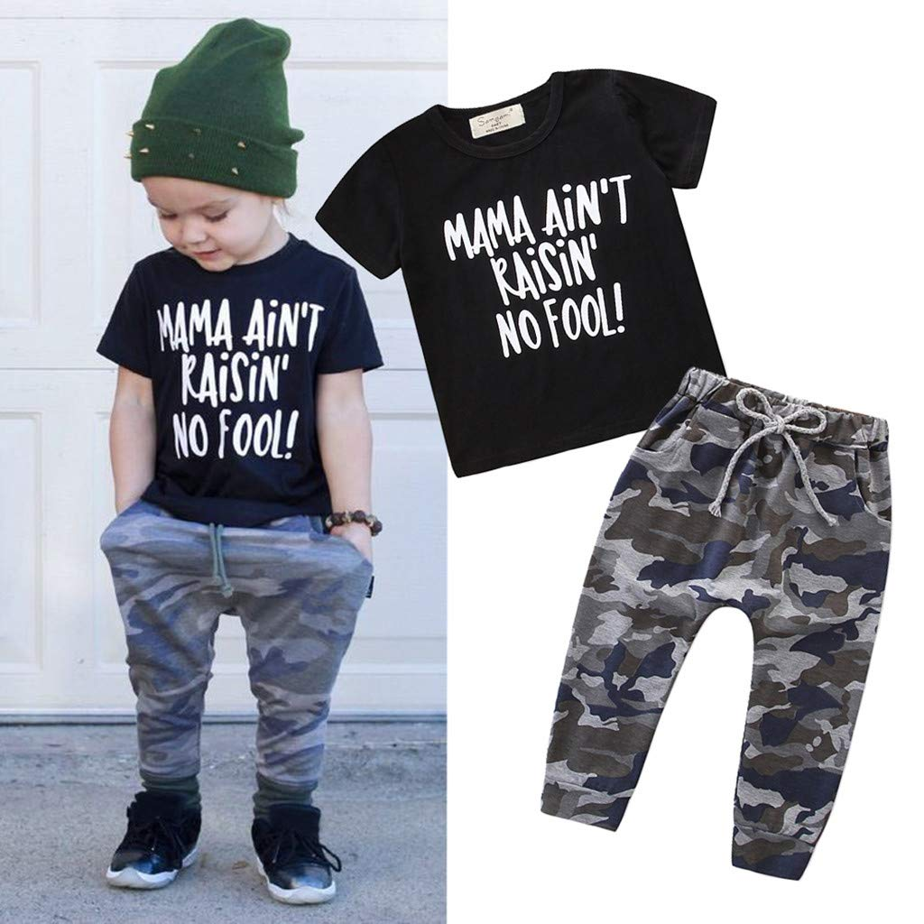 DORIC 2019 Toddler Kids Baby Girls Newborn Boys Outfits Letter T-Shirt Tops+Camouflage Pants Set 2PC