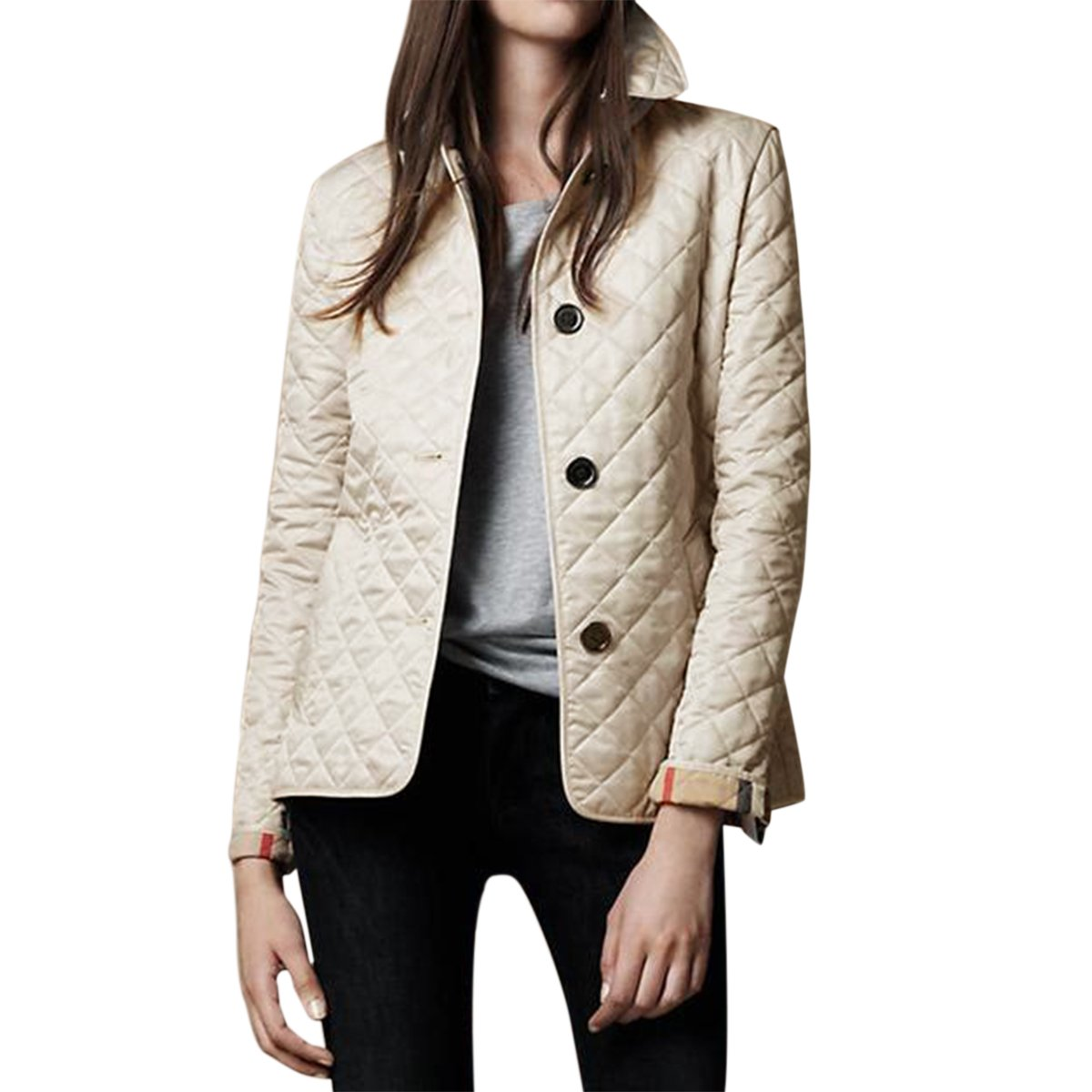 E.JAN1ST Women's Diamond Quilted Jacket Stand Collar Button End with Pocket Coat, Cream, TagsizeXXXL=USsize8