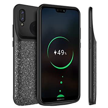 BasicStock Funda Batería Huawei P20 Lite/Nova 3e, 4700mAh Batería Externa Recargable Ultra Delgada Protector Portátil Carga Caso de Prueba de Choque ...