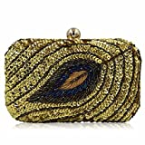 New Design Ladies Evening Bag Women Sequined Beaded Wedding Party Floral Clutch With Chain