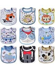 Haimoburg 9 Pack Wasserdicht Babylätzchen Baumwolle Klettverschluss (Mädchen 9 Pack)